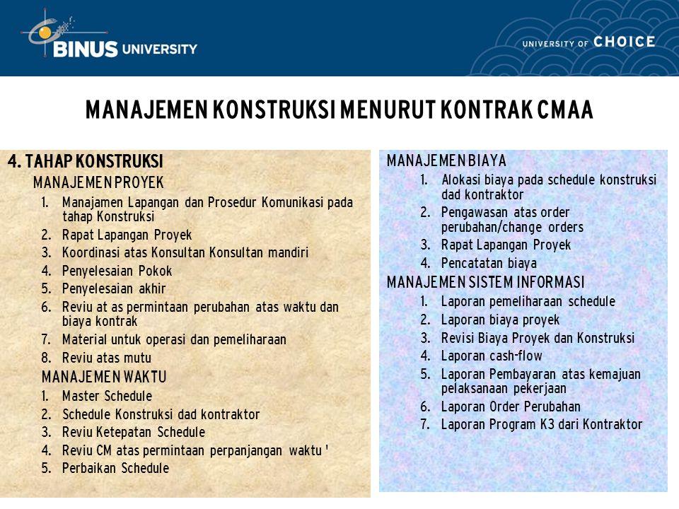 Bina Nusantara MANAJEMEN KONSTRUKSI MENURUT KONTRAK CMAA 4. TAHAP KONSTRUKSI MANAJEMEN PROYEK  Manajamen Lapangan dan Prosedur Komunikasi pada tahap