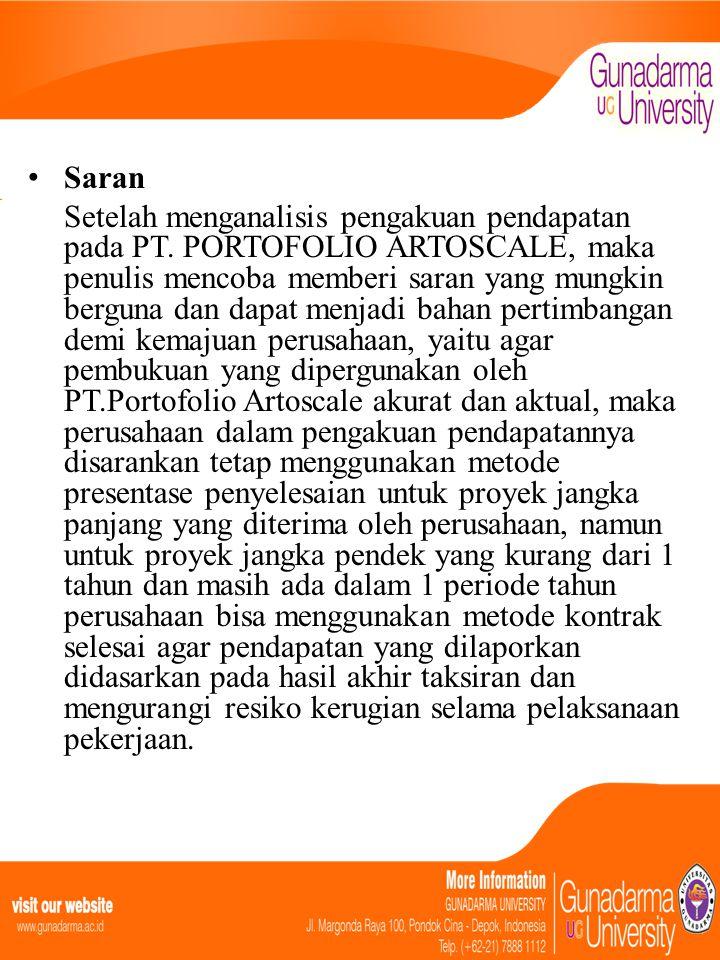• Saran Setelah menganalisis pengakuan pendapatan pada PT. PORTOFOLIO ARTOSCALE, maka penulis mencoba memberi saran yang mungkin berguna dan dapat men