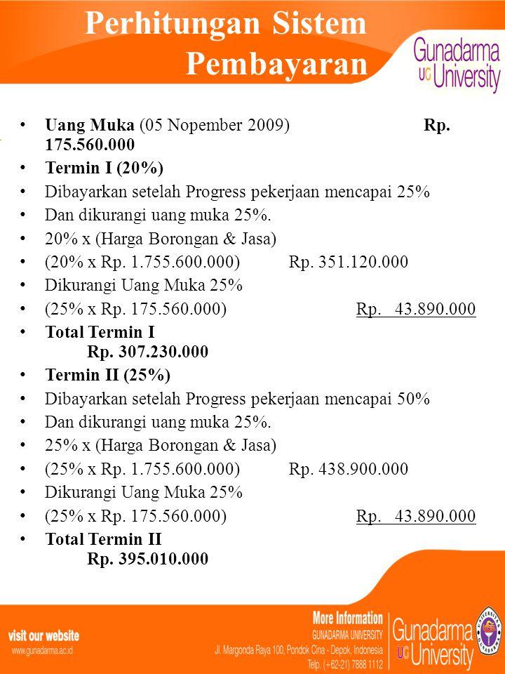 Perhitungan Sistem Pembayaran • Uang Muka (05 Nopember 2009)Rp. 175.560.000 • Termin I (20%) • Dibayarkan setelah Progress pekerjaan mencapai 25% • Da