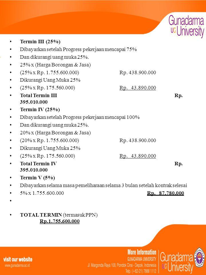 • Termin III (25%) • Dibayarkan setelah Progress pekerjaan mencapai 75% • Dan dikurangi uang muka 25%. • 25% x (Harga Borongan & Jasa) • (25% x Rp. 1.