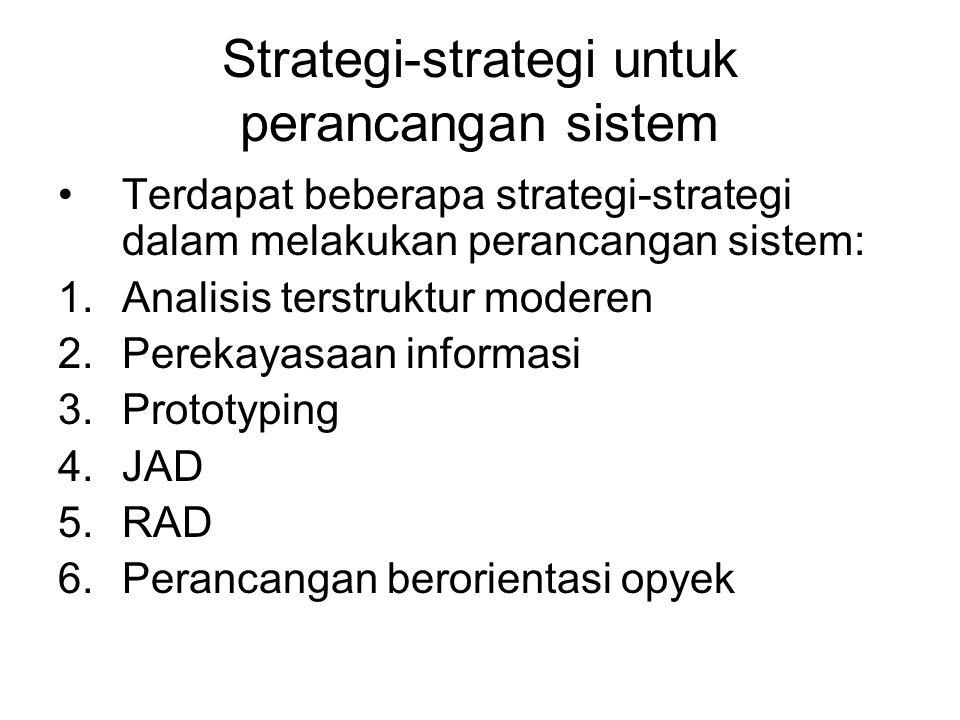 Strategi-strategi untuk perancangan sistem •Terdapat beberapa strategi-strategi dalam melakukan perancangan sistem: 1.Analisis terstruktur moderen 2.Perekayasaan informasi 3.Prototyping 4.JAD 5.RAD 6.Perancangan berorientasi opyek