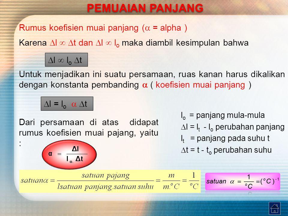 Tabel koefisien muai panjang beberapa benda pada suhu kamar (  25 o C PEMUAIAN PANJANG PEMUAIAN PANJANG