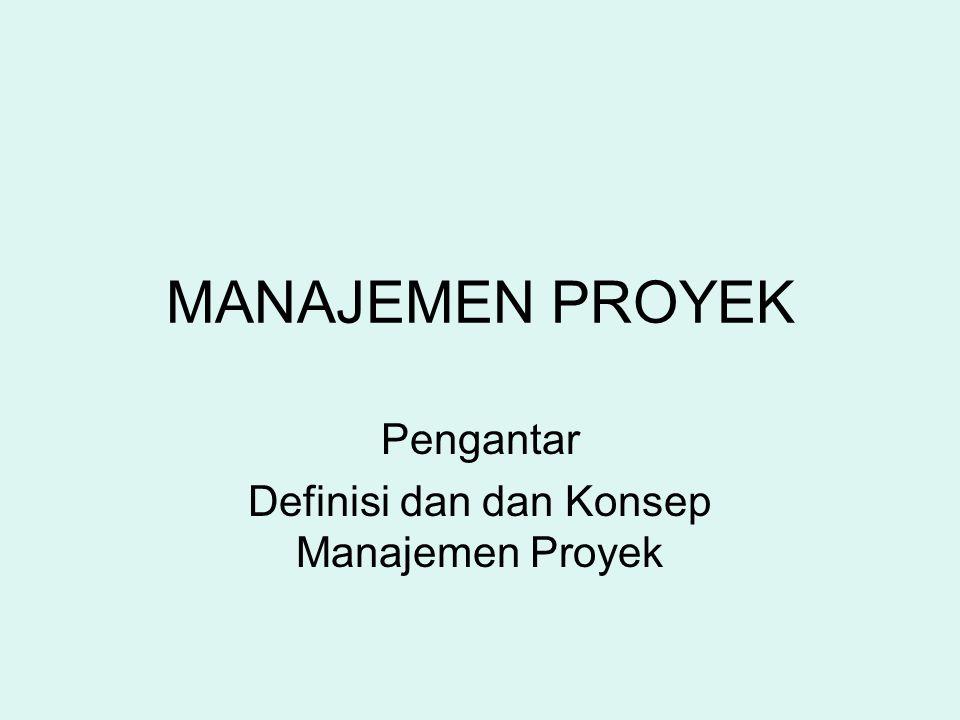 MANAJEMEN PROYEK Pengantar Definisi dan dan Konsep Manajemen Proyek