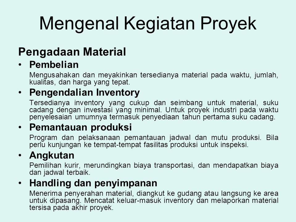 Mengenal Kegiatan Proyek Pengadaan Material •Pembelian Mengusahakan dan meyakinkan tersedianya material pada waktu, jumlah, kualitas, dan harga yang t