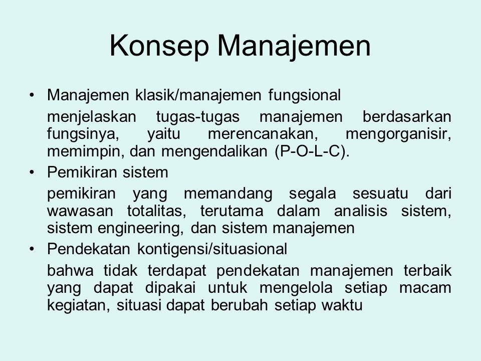 Konsep Manajemen •Manajemen klasik/manajemen fungsional menjelaskan tugas-tugas manajemen berdasarkan fungsinya, yaitu merencanakan, mengorganisir, me