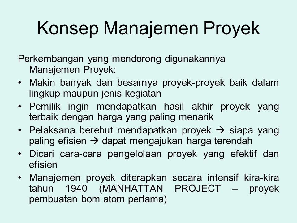 Konsep Manajemen Proyek Perkembangan yang mendorong digunakannya Manajemen Proyek: •Makin banyak dan besarnya proyek-proyek baik dalam lingkup maupun