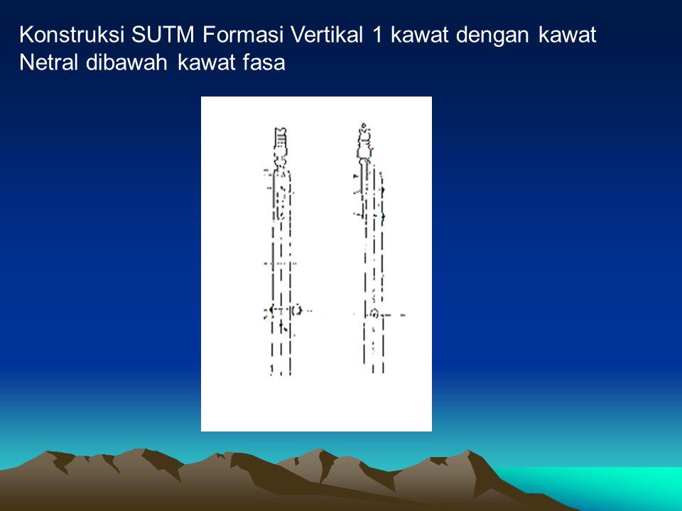 Konstruksi SUTM Formasi Vertikal 1 kawat dengan kawat Netral dibawah kawat fasa