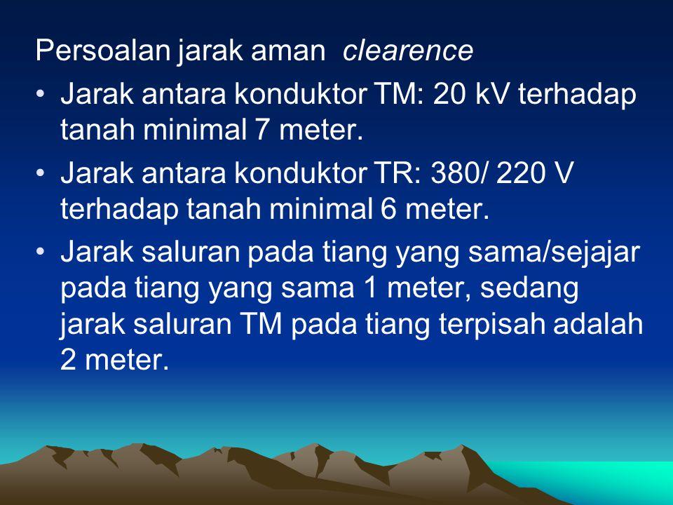Persoalan jarak aman clearence •Jarak antara konduktor TM: 20 kV terhadap tanah minimal 7 meter. •Jarak antara konduktor TR: 380/ 220 V terhadap tanah