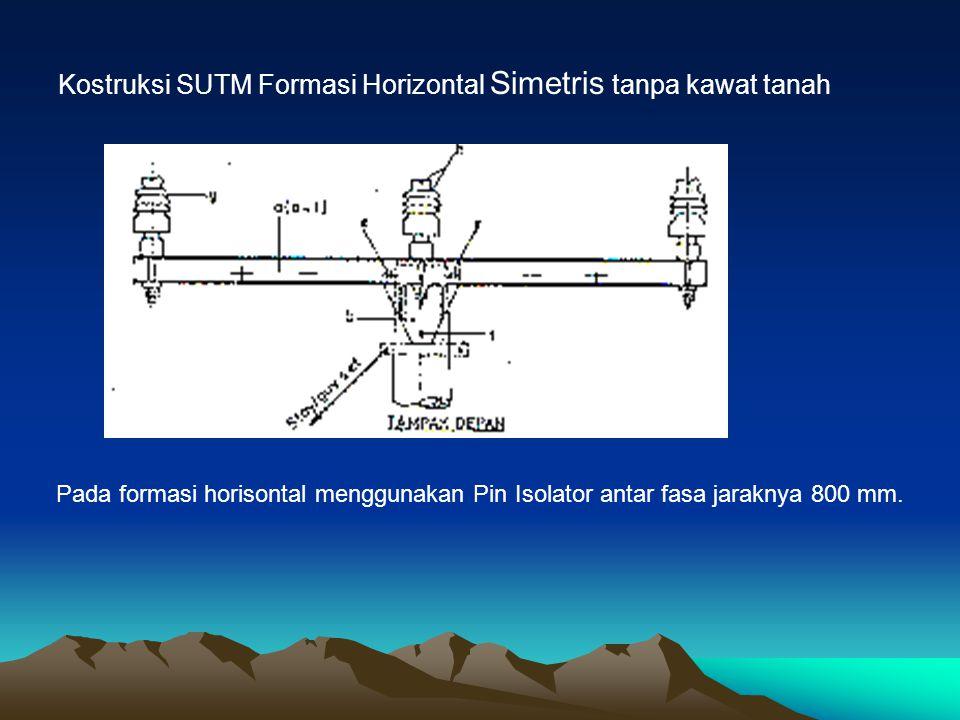 Contoh konstruksi SUTM Formasi Horizontal tidak simetris dengan kawat tanah diatas kawat fasa