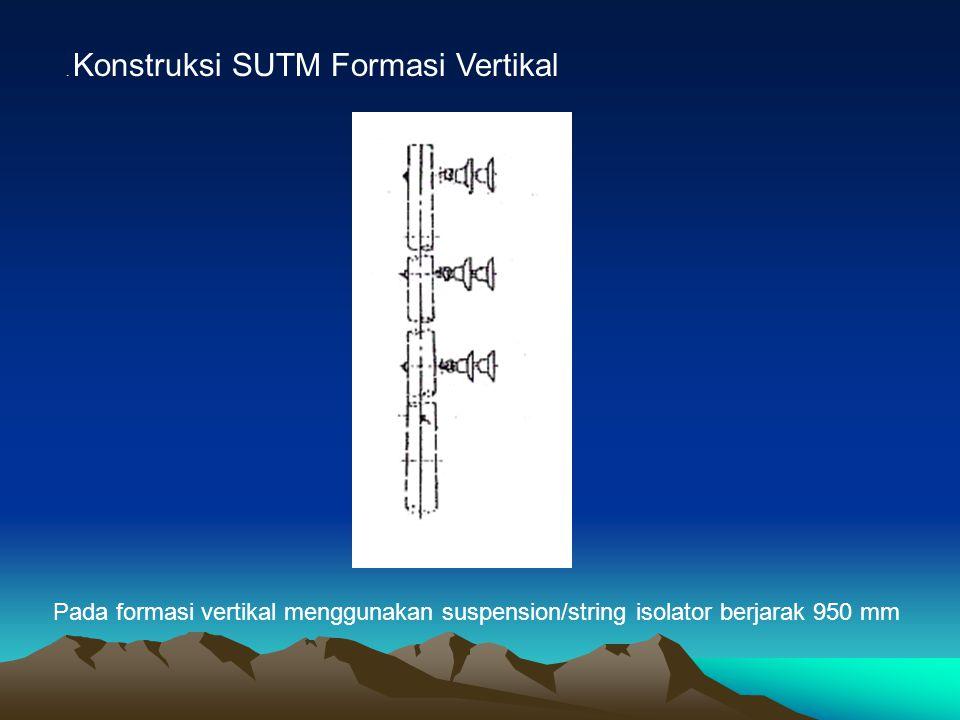 . Konstruksi SUTM Formasi Vertikal Pada formasi vertikal menggunakan suspension/string isolator berjarak 950 mm