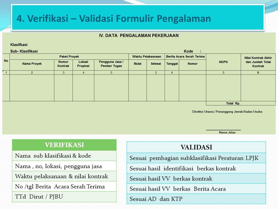 4. Verifikasi – Validasi Formulir Pengalaman VERIFIKASI Nama sub klasifikasi & kode Nama, no, lokasi, pengguna jasa Waktu pelaksanaan & nilai kontrak