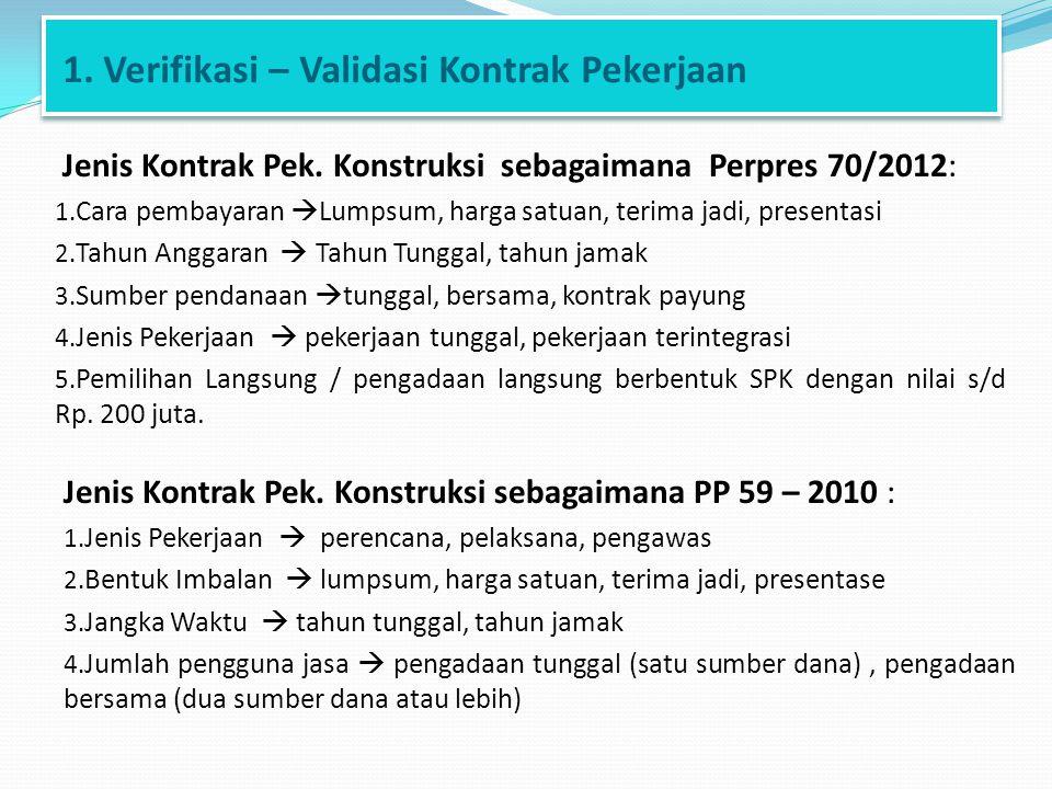 1. Verifikasi – Validasi Kontrak Pekerjaan Jenis Kontrak Pek. Konstruksi sebagaimana Perpres 70/2012: 1. Cara pembayaran  Lumpsum, harga satuan, teri