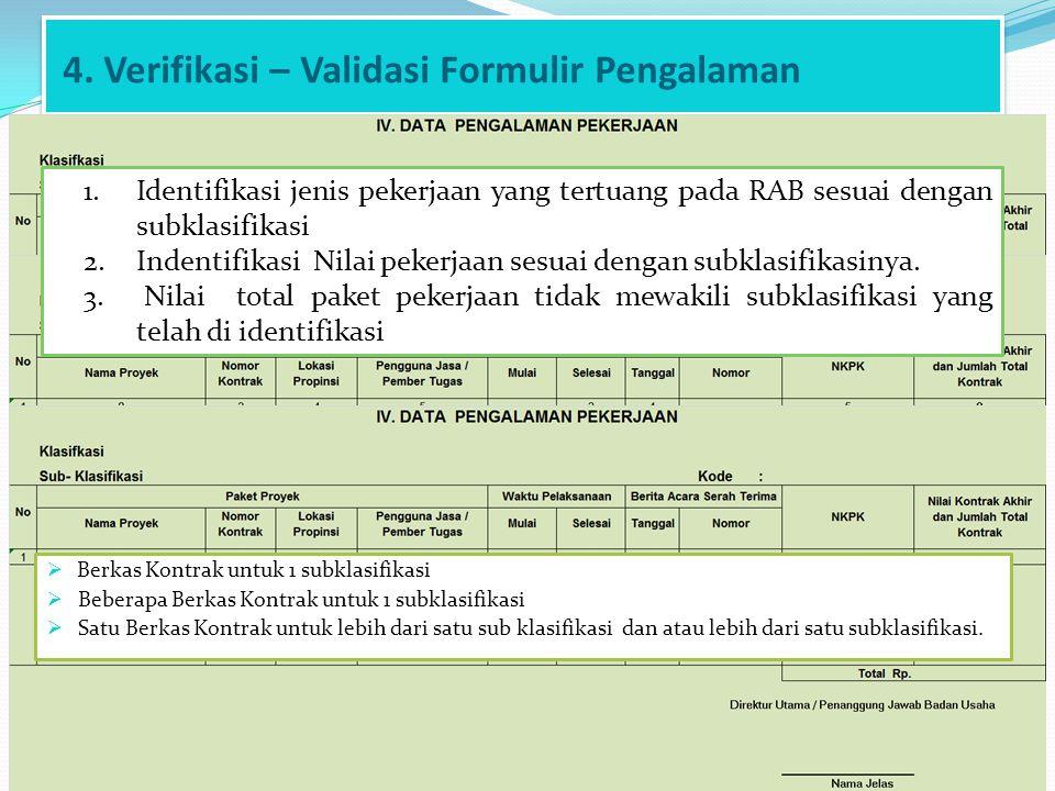 4. Verifikasi – Validasi Formulir Pengalaman 1.Identifikasi jenis pekerjaan yang tertuang pada RAB sesuai dengan subklasifikasi 2.Indentifikasi Nilai