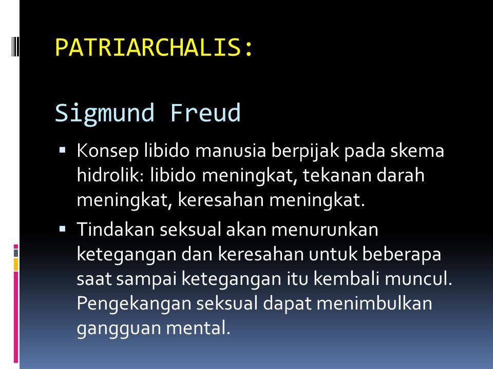 PATRIARCHALIS: Sigmund Freud  Konsep libido manusia berpijak pada skema hidrolik: libido meningkat, tekanan darah meningkat, keresahan meningkat.