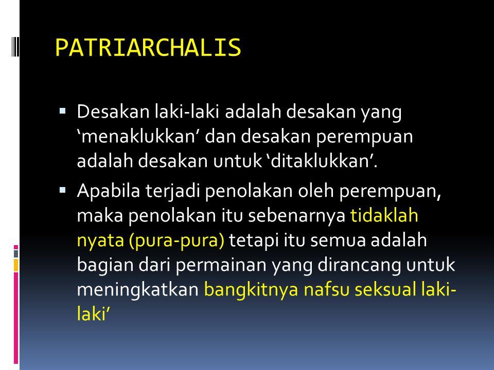 PATRIARCHALIS  Desakan laki-laki adalah desakan yang 'menaklukkan' dan desakan perempuan adalah desakan untuk 'ditaklukkan'.