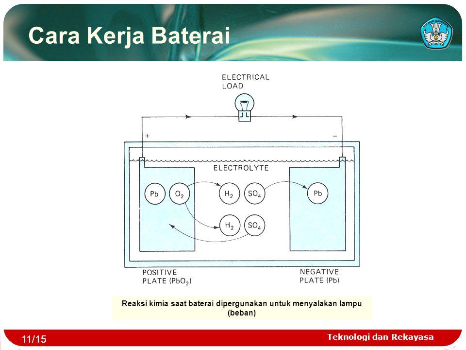Teknologi dan Rekayasa Cara Kerja Baterai Reaksi kimia saat baterai dipergunakan untuk menyalakan lampu (beban) 11/15