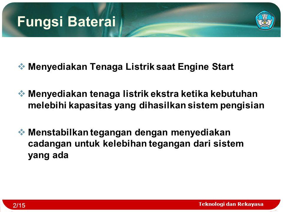 Teknologi dan Rekayasa Fungsi Baterai  Menyediakan Tenaga Listrik saat Engine Start  Menyediakan tenaga listrik ekstra ketika kebutuhan melebihi kap