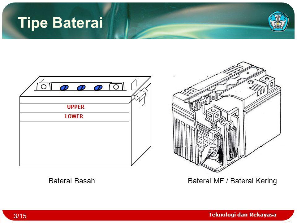 Teknologi dan Rekayasa UPPER LOWER Baterai BasahBaterai MF / Baterai Kering Tipe Baterai 3/15
