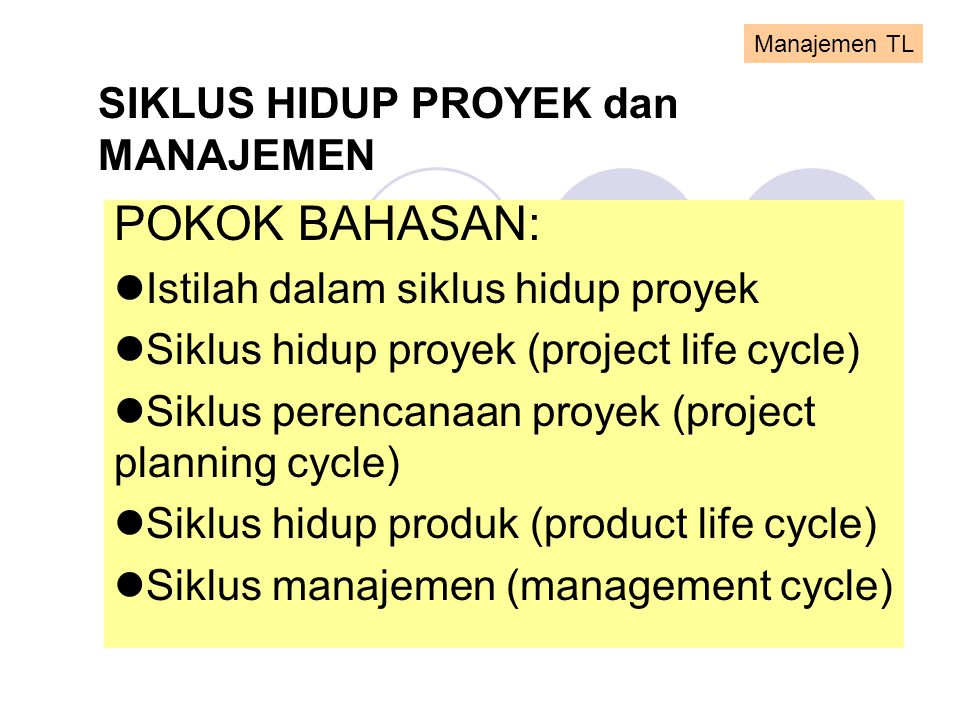 SIKLUS HIDUP PROYEK dan MANAJEMEN POKOK BAHASAN:  Istilah dalam siklus hidup proyek  Siklus hidup proyek (project life cycle)  Siklus perencanaan p