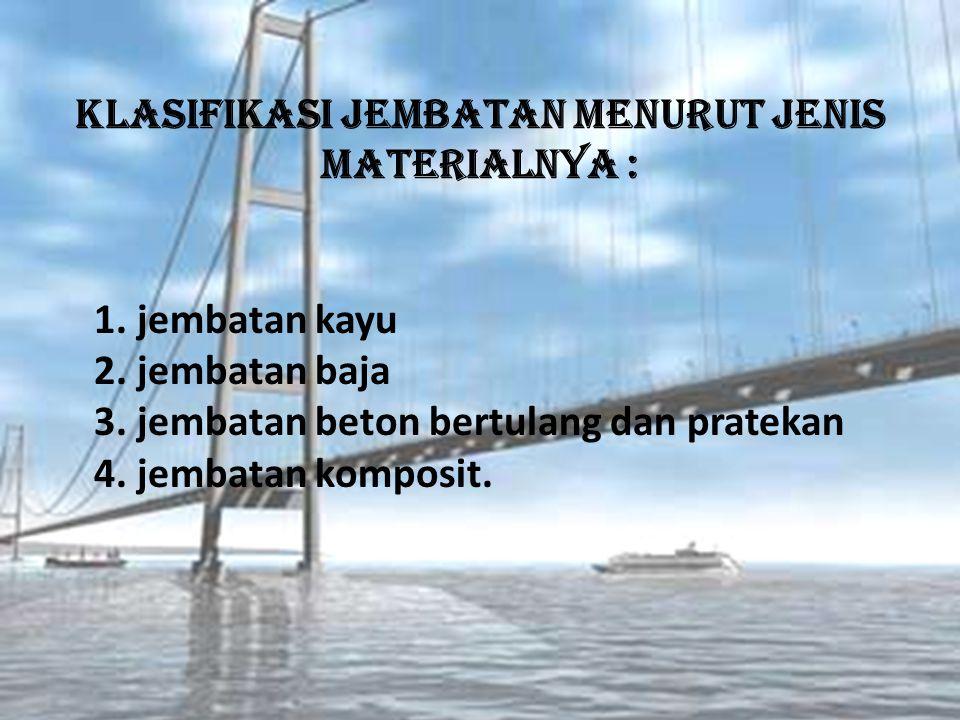 Klasifikasi Jembatan menurut jenis materialnya : 1.