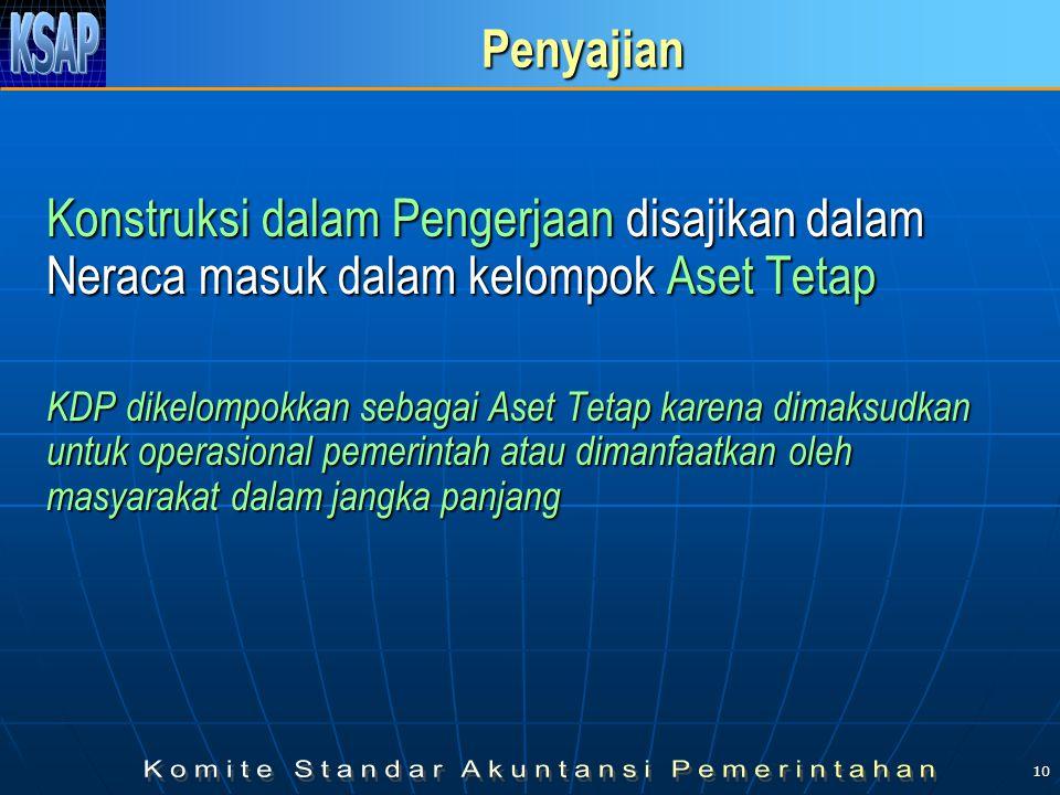 10 Penyajian Konstruksi dalam Pengerjaan disajikan dalam Neraca masuk dalam kelompok Aset Tetap KDP dikelompokkan sebagai Aset Tetap karena dimaksudkan untuk operasional pemerintah atau dimanfaatkan oleh masyarakat dalam jangka panjang