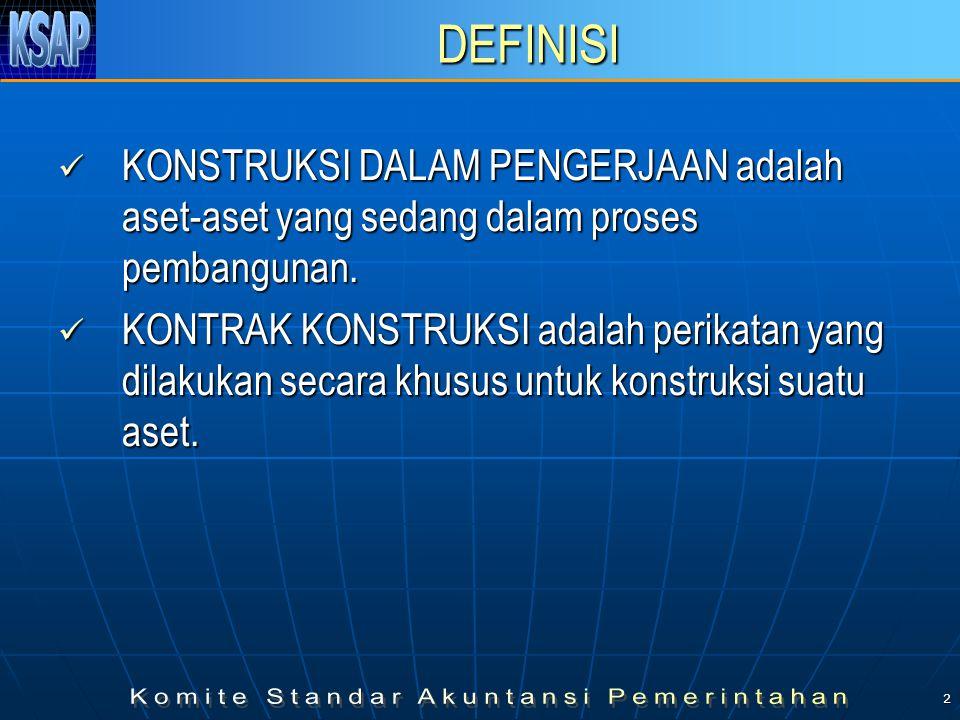 2 DEFINISI  KONSTRUKSI DALAM PENGERJAAN adalah aset-aset yang sedang dalam proses pembangunan.