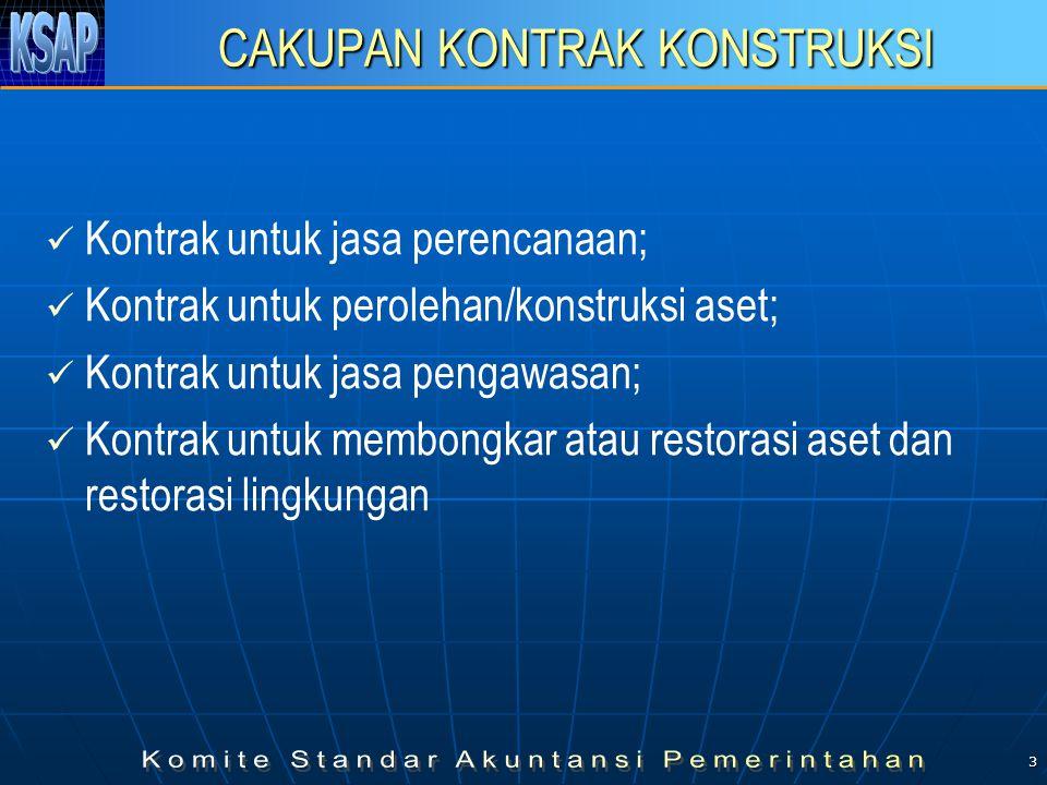 3 CAKUPAN KONTRAK KONSTRUKSI   Kontrak untuk jasa perencanaan;   Kontrak untuk perolehan/konstruksi aset;   Kontrak untuk jasa pengawasan;   Kontrak untuk membongkar atau restorasi aset dan restorasi lingkungan