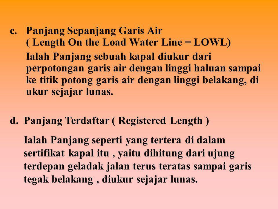 1. UKURAN MEMBUJUR / MEMANJANG Ukuran Memanjang terdiri dari : a.Panjang Seluruhnya ( Length Over All = LOA ) Ialah Jarak membujur kapal dari titik te