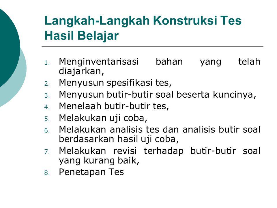 Langkah-Langkah Konstruksi Tes Hasil Belajar 1. Menginventarisasi bahan yang telah diajarkan, 2. Menyusun spesifikasi tes, 3. Menyusun butir-butir soa