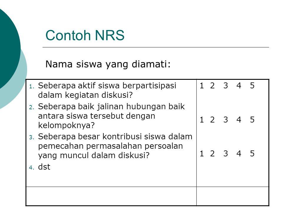 Contoh NRS Nama siswa yang diamati: 1. Seberapa aktif siswa berpartisipasi dalam kegiatan diskusi? 2. Seberapa baik jalinan hubungan baik antara siswa
