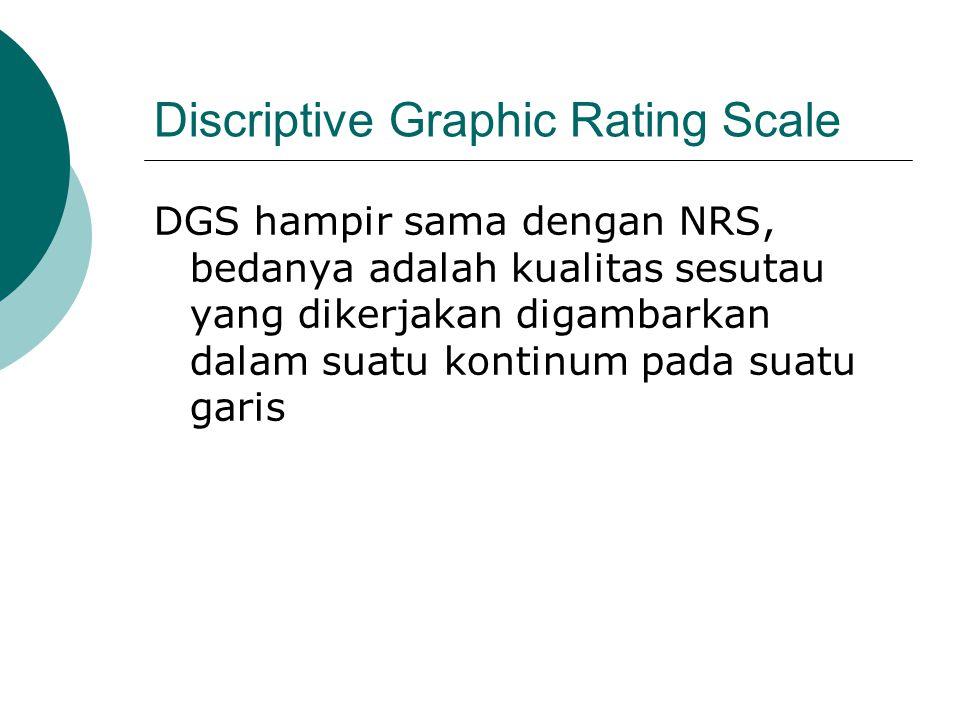 Discriptive Graphic Rating Scale DGS hampir sama dengan NRS, bedanya adalah kualitas sesutau yang dikerjakan digambarkan dalam suatu kontinum pada sua