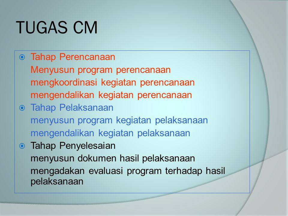 TUGAS CM  Tahap Perencanaan Menyusun program perencanaan mengkoordinasi kegiatan perencanaan mengendalikan kegiatan perencanaan  Tahap Pelaksanaan m