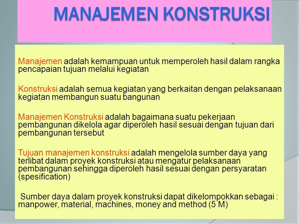 Manajemen adalah kemampuan untuk memperoleh hasil dalam rangka pencapaian tujuan melalui kegiatan Konstruksi adalah semua kegiatan yang berkaitan deng