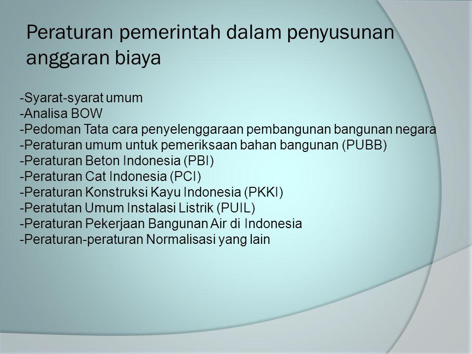 Peraturan pemerintah dalam penyusunan anggaran biaya -Syarat-syarat umum -Analisa BOW -Pedoman Tata cara penyelenggaraan pembangunan bangunan negara -