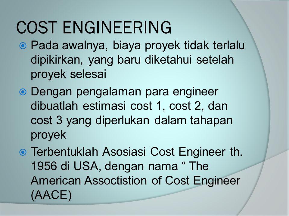 COST ENGINEERING  Pada awalnya, biaya proyek tidak terlalu dipikirkan, yang baru diketahui setelah proyek selesai  Dengan pengalaman para engineer d