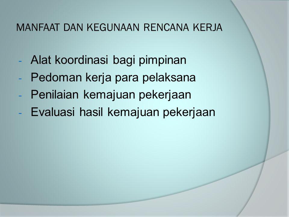 MANFAAT DAN KEGUNAAN RENCANA KERJA - Alat koordinasi bagi pimpinan - Pedoman kerja para pelaksana - Penilaian kemajuan pekerjaan - Evaluasi hasil kema