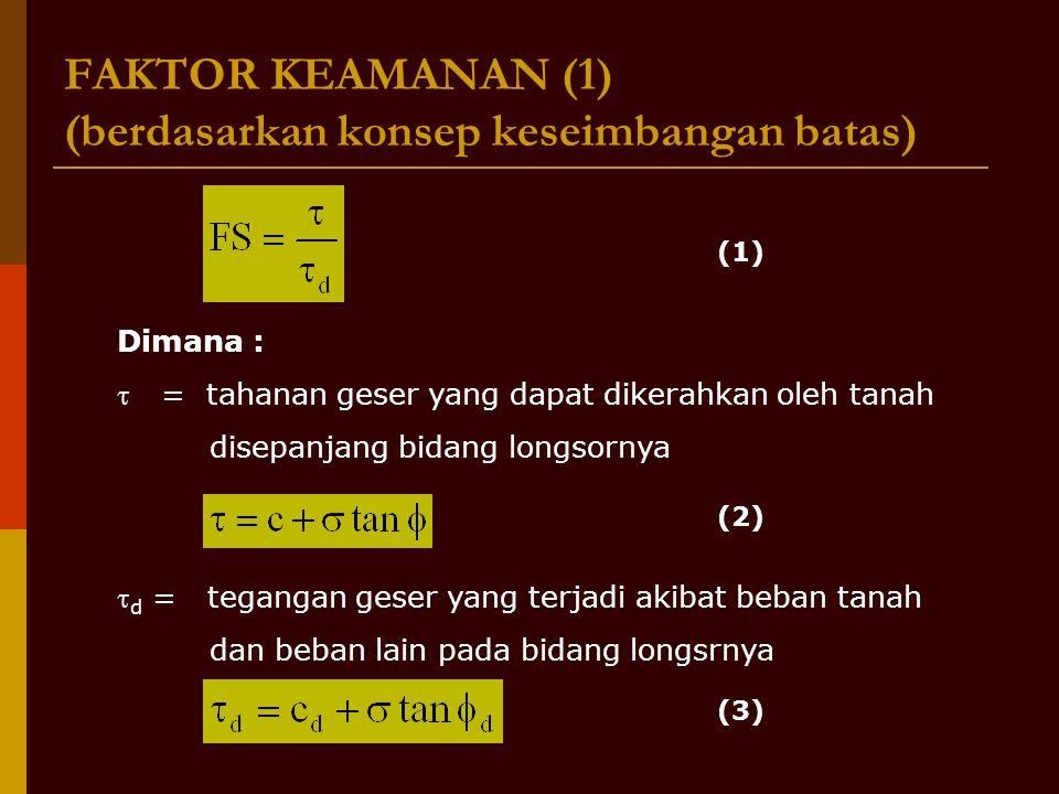 FAKTOR KEAMANAN (1) (berdasarkan konsep keseimbangan batas) Dimana :  = tahanan geser yang dapat dikerahkan oleh tanah disepanjang bidang longsornya