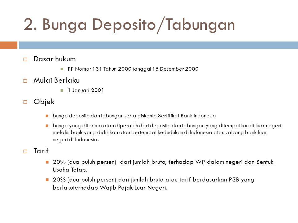 2. Bunga Deposito/Tabungan  Dasar hukum  PP Nomor 131 Tahun 2000 tanggal 15 Desember 2000  Mulai Berlaku  1 Januari 2001  Objek  bunga deposito