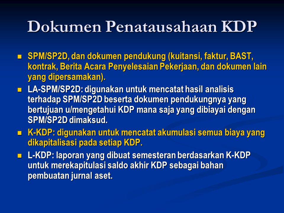 Dokumen Penatausahaan KDP  SPM/SP2D, dan dokumen pendukung (kuitansi, faktur, BAST, kontrak, Berita Acara Penyelesaian Pekerjaan, dan dokumen lain ya