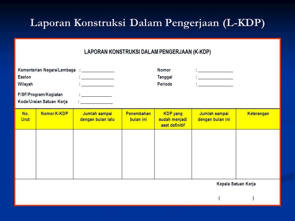 Laporan Konstruksi Dalam Pengerjaan (L-KDP) LAPORAN KONSTRUKSI DALAM PENGERJAAN (K-KDP) Kementerian Negara/Lembaga : _______________ Eselon : ________