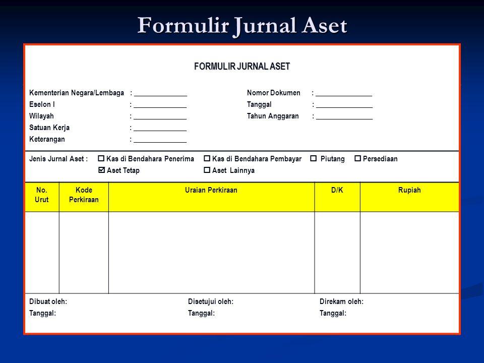 Formulir Jurnal Aset FORMULIR JURNAL ASET Kementerian Negara/Lembaga : _______________ Eselon I : _______________ Wilayah : _______________ Satuan Ker