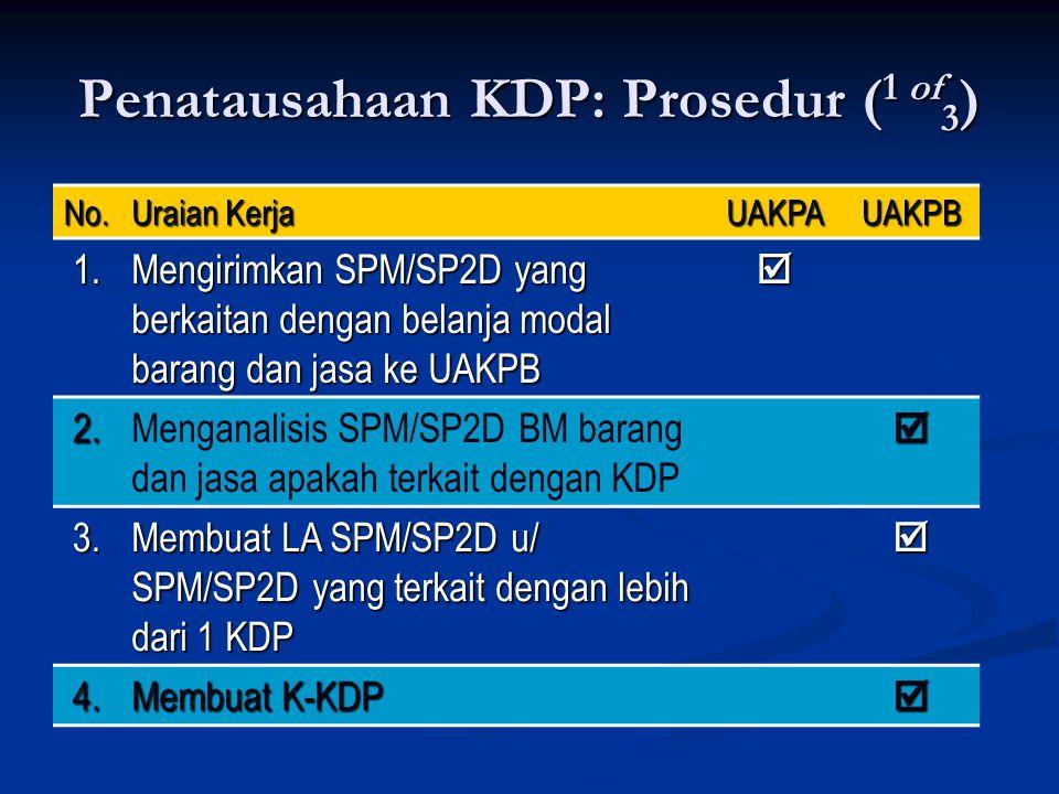 Penatausahaan KDP: Prosedur ( 1 of 3 ) No. Uraian Kerja UAKPAUAKPB 1. Mengirimkan SPM/SP2D yang berkaitan dengan belanja modal barang dan jasa ke UAKP