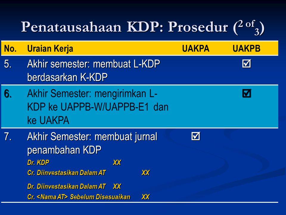 Penatausahaan KDP: Prosedur ( 2 of 3 ) No.Uraian KerjaUAKPAUAKPB 5. Akhir semester: membuat L-KDP berdasarkan K-KDP  6.Akhir Semester: mengirimkan L-