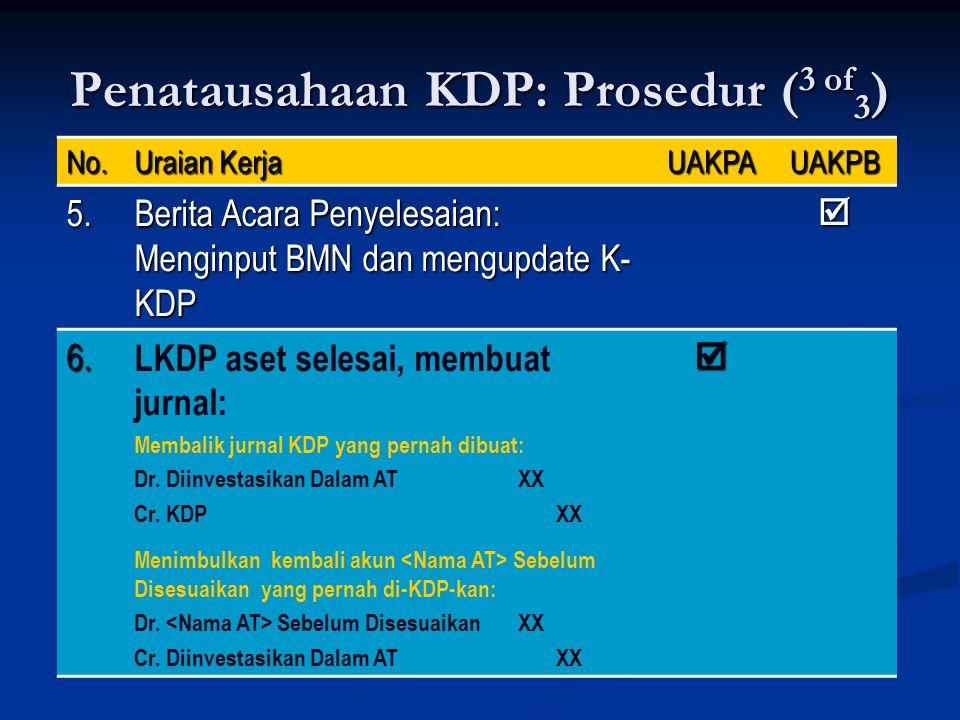 Penatausahaan KDP: Prosedur ( 3 of 3 ) No. Uraian Kerja UAKPAUAKPB 5. Berita Acara Penyelesaian: Menginput BMN dan mengupdate K- KDP  6. LKDP aset se