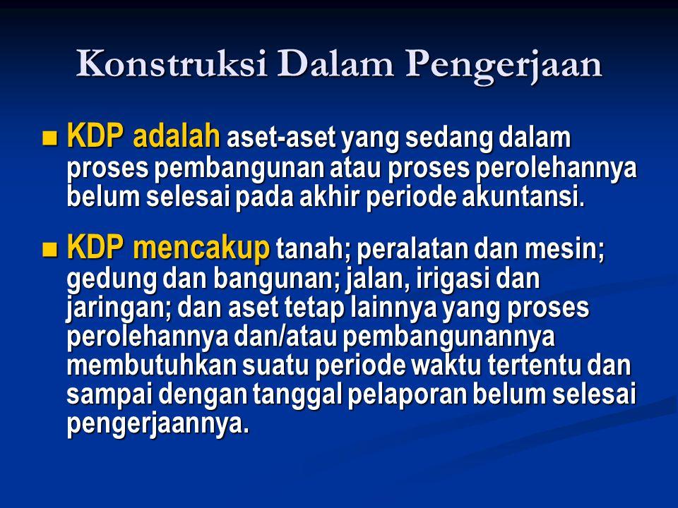 Konstruksi Dalam Pengerjaan  KDP adalah aset-aset yang sedang dalam proses pembangunan atau proses perolehannya belum selesai pada akhir periode akuntansi.