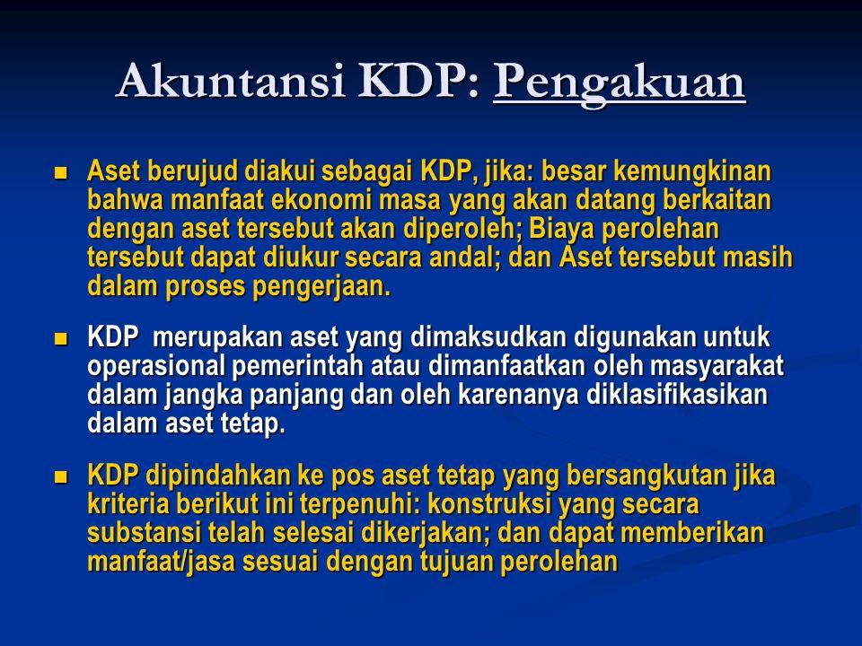 Akuntansi KDP: Pengakuan  Aset berujud diakui sebagai KDP, jika: besar kemungkinan bahwa manfaat ekonomi masa yang akan datang berkaitan dengan aset tersebut akan diperoleh; Biaya perolehan tersebut dapat diukur secara andal; dan Aset tersebut masih dalam proses pengerjaan.