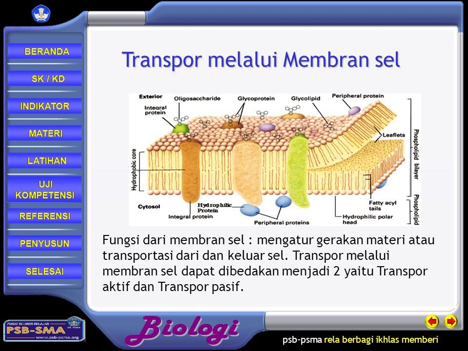 psb-psma rela berbagi ikhlas memberi Fungsi dari membran sel : mengatur gerakan materi atau transportasi dari dan keluar sel.