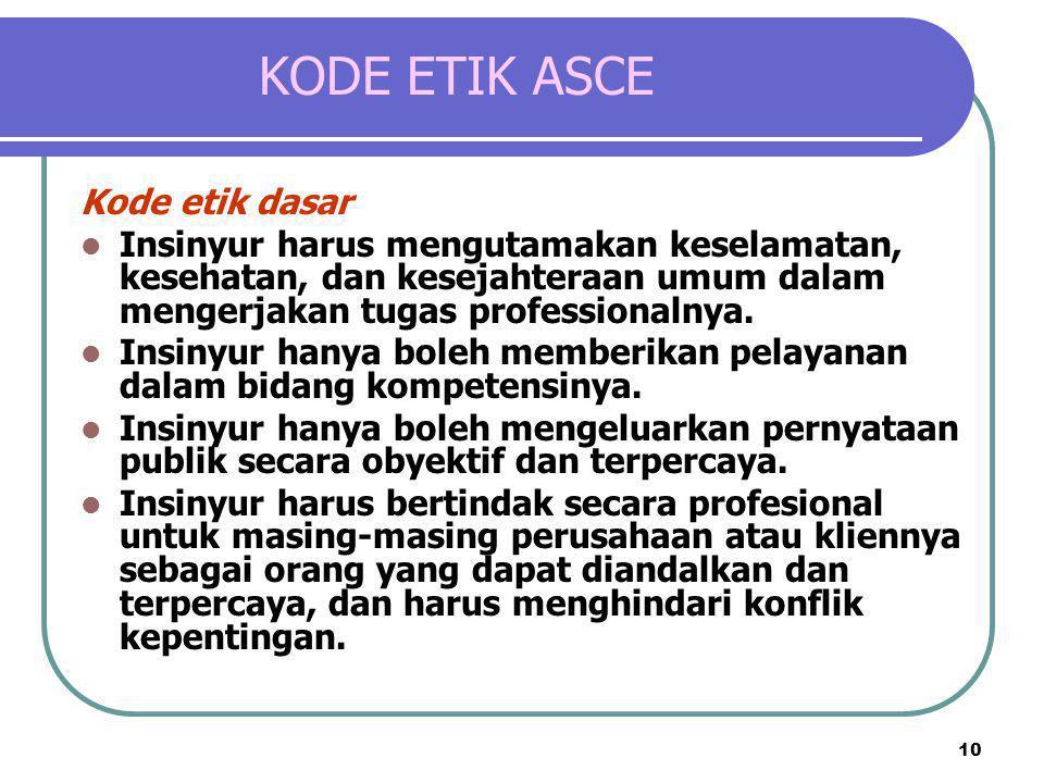 10 KODE ETIK ASCE Kode etik dasar  Insinyur harus mengutamakan keselamatan, kesehatan, dan kesejahteraan umum dalam mengerjakan tugas professionalnya