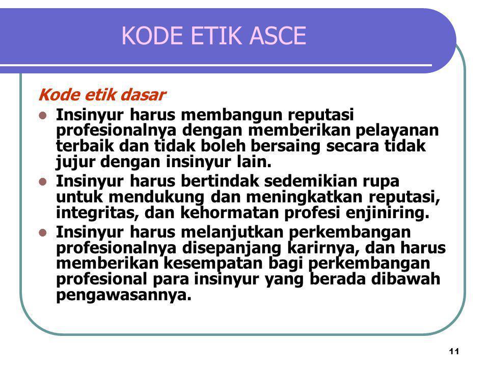 11 KODE ETIK ASCE Kode etik dasar  Insinyur harus membangun reputasi profesionalnya dengan memberikan pelayanan terbaik dan tidak boleh bersaing seca