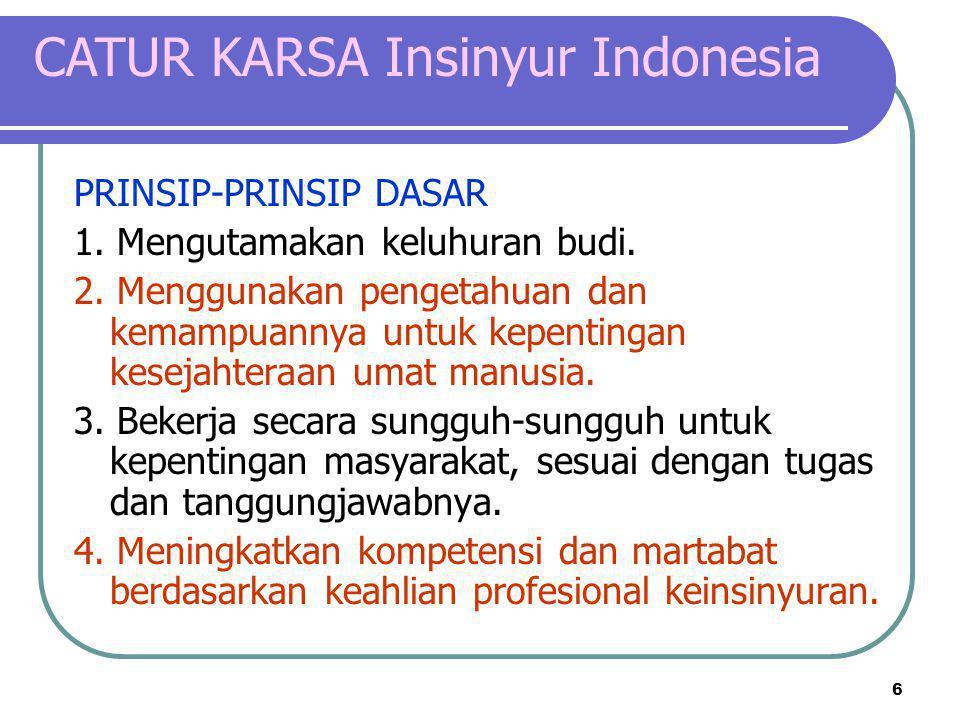 6 CATUR KARSA Insinyur Indonesia PRINSIP-PRINSIP DASAR 1. Mengutamakan keluhuran budi. 2. Menggunakan pengetahuan dan kemampuannya untuk kepentingan k